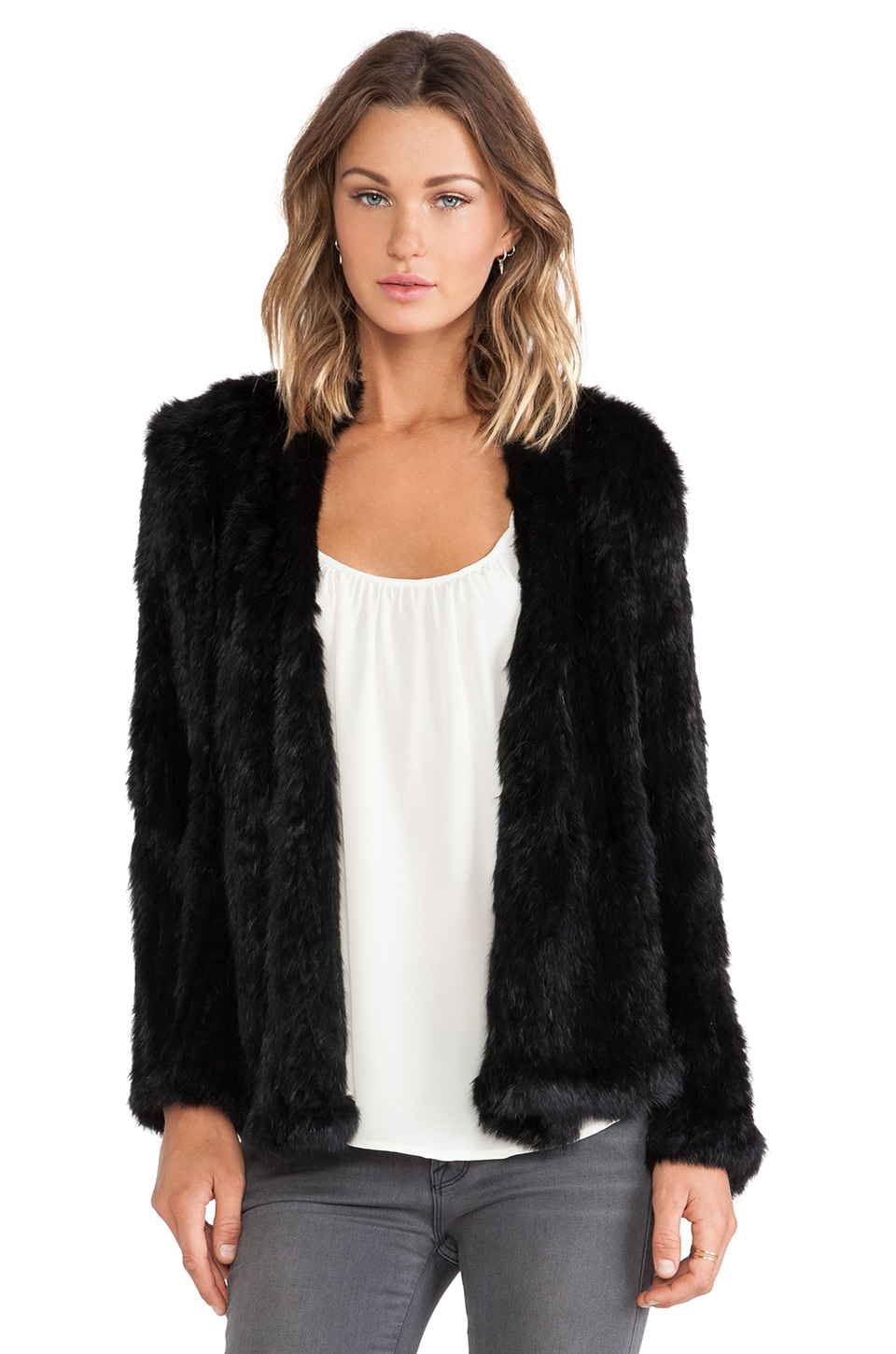 NICHOLAS Knitted Rabbit Fur Jacket in Black