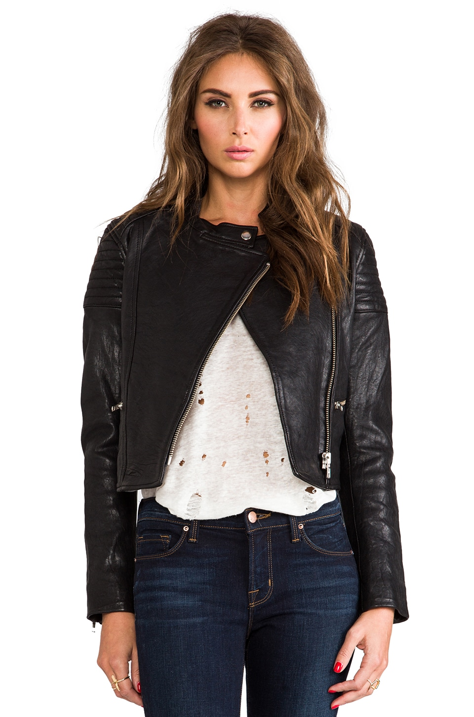 NICHOLAS Leather Biker Jacket in Black
