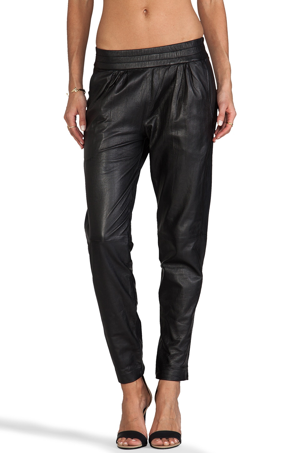 NICHOLAS Leather Track Pant in Black