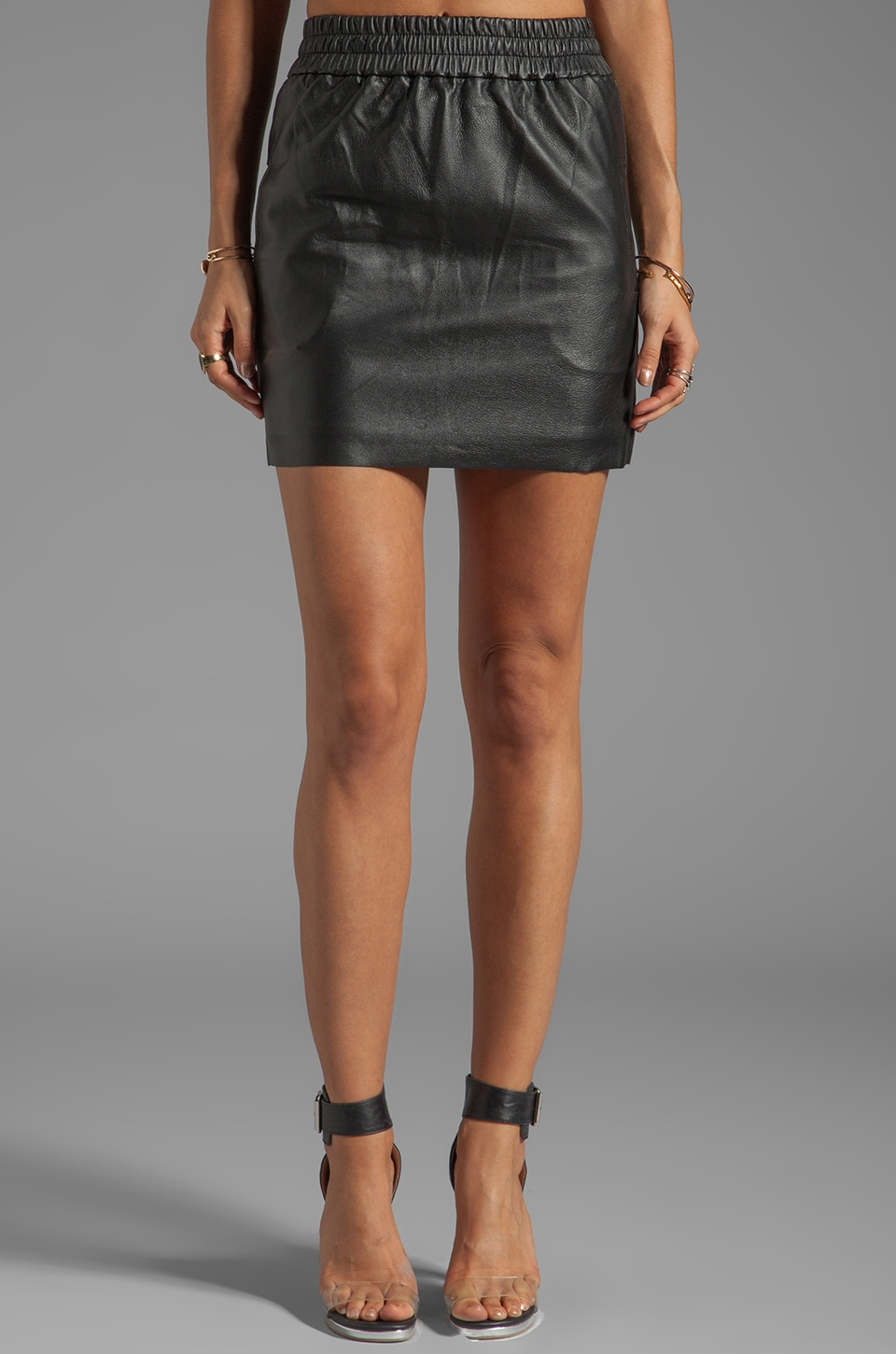 NICHOLAS Leather Track Skirt in Black