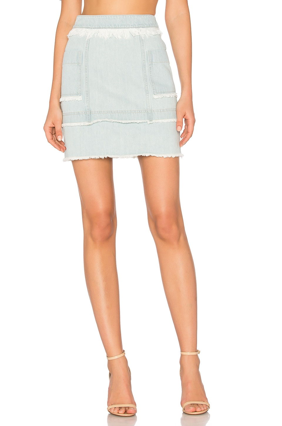 NICHOLAS Denim Paneled Skirt in Washed Blue