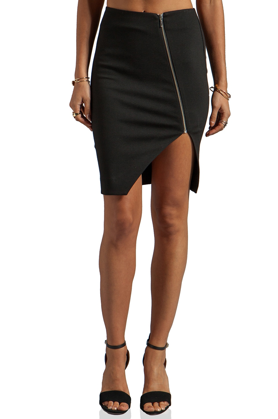 NICHOLAS Ponti Zip Wrap Skirt in Black