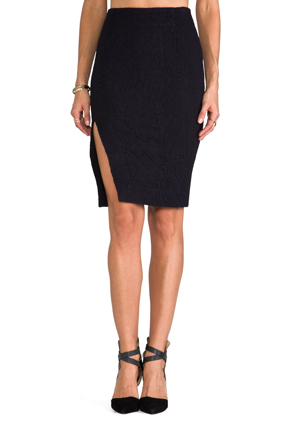 NICHOLAS Pencil Skirt in Navy
