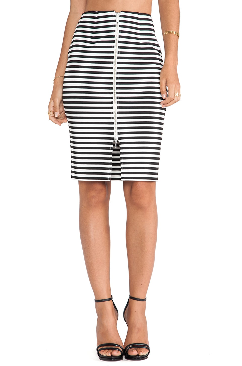 NICHOLAS Stripe Ponti Pencil Skirt in Black