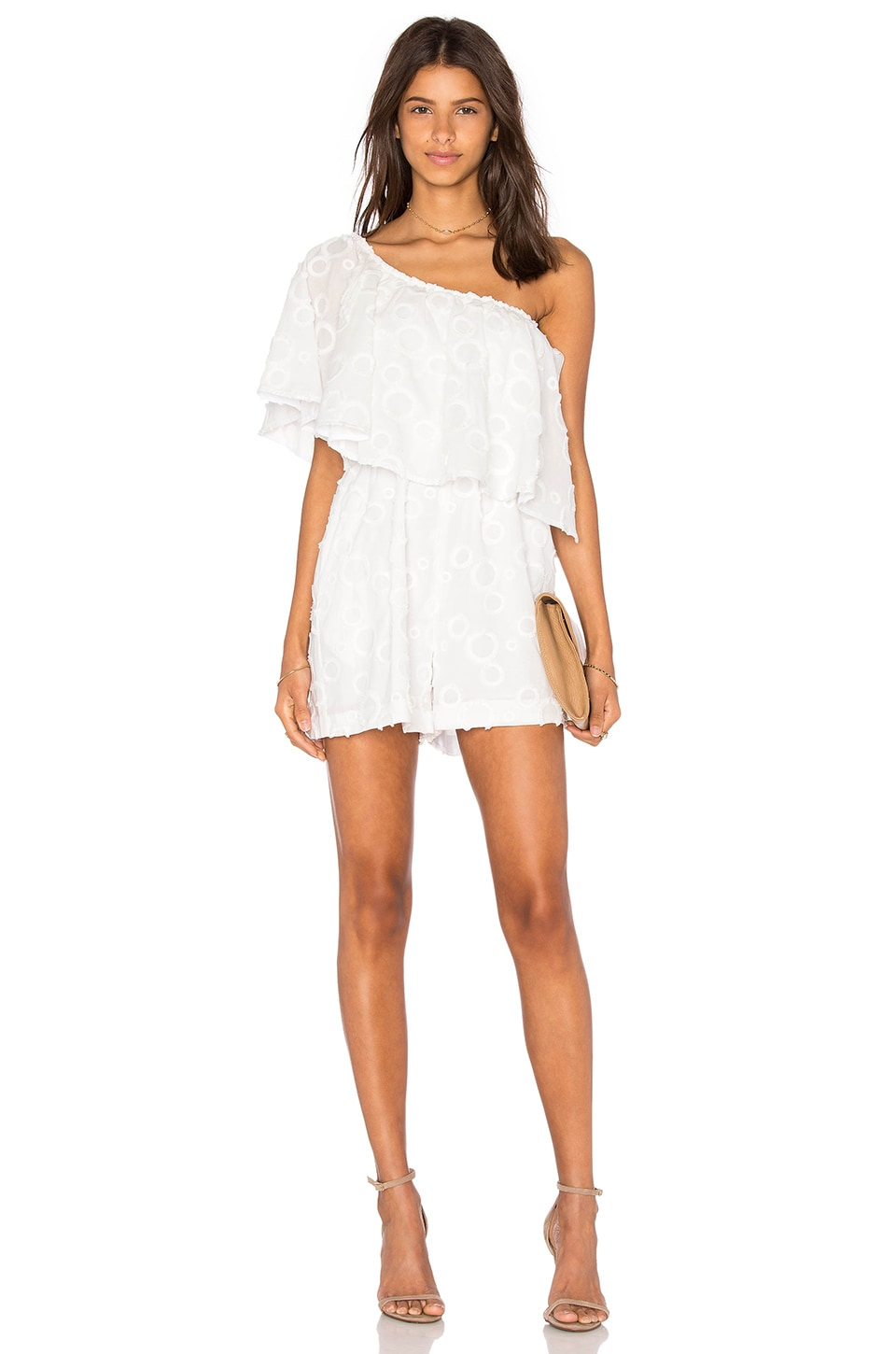 NICHOLAS Spot Fringe One Shoulder Ruffle Romper in White