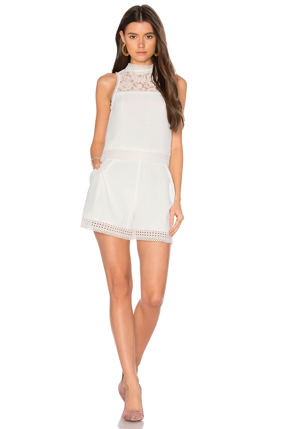 NICHOLAS Crepe Double Layer Romper in Ivory