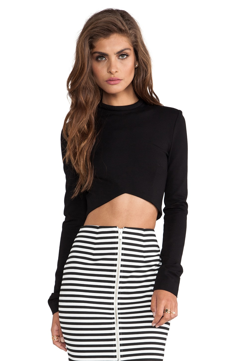 NICHOLAS Ponti Long Sleeve V Crop Top in Black