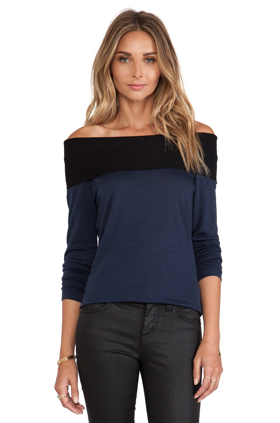 NICHOLAS Babywool Off Shoulder Top in Navy