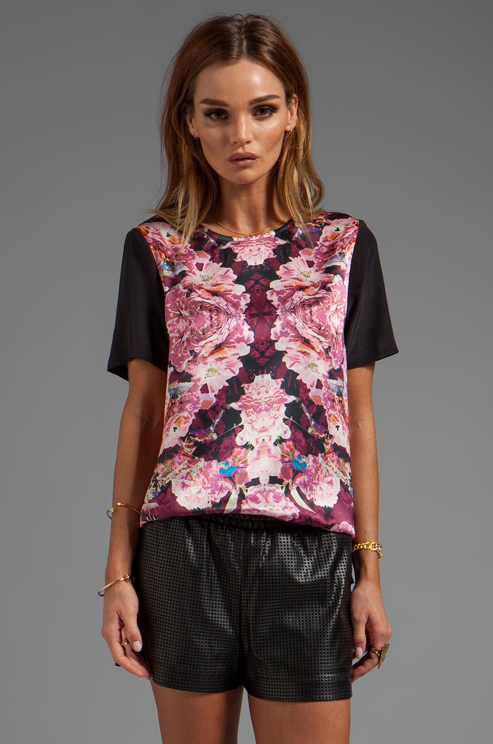 NICHOLAS Rose Relfect Silk T-Shirt in Multi