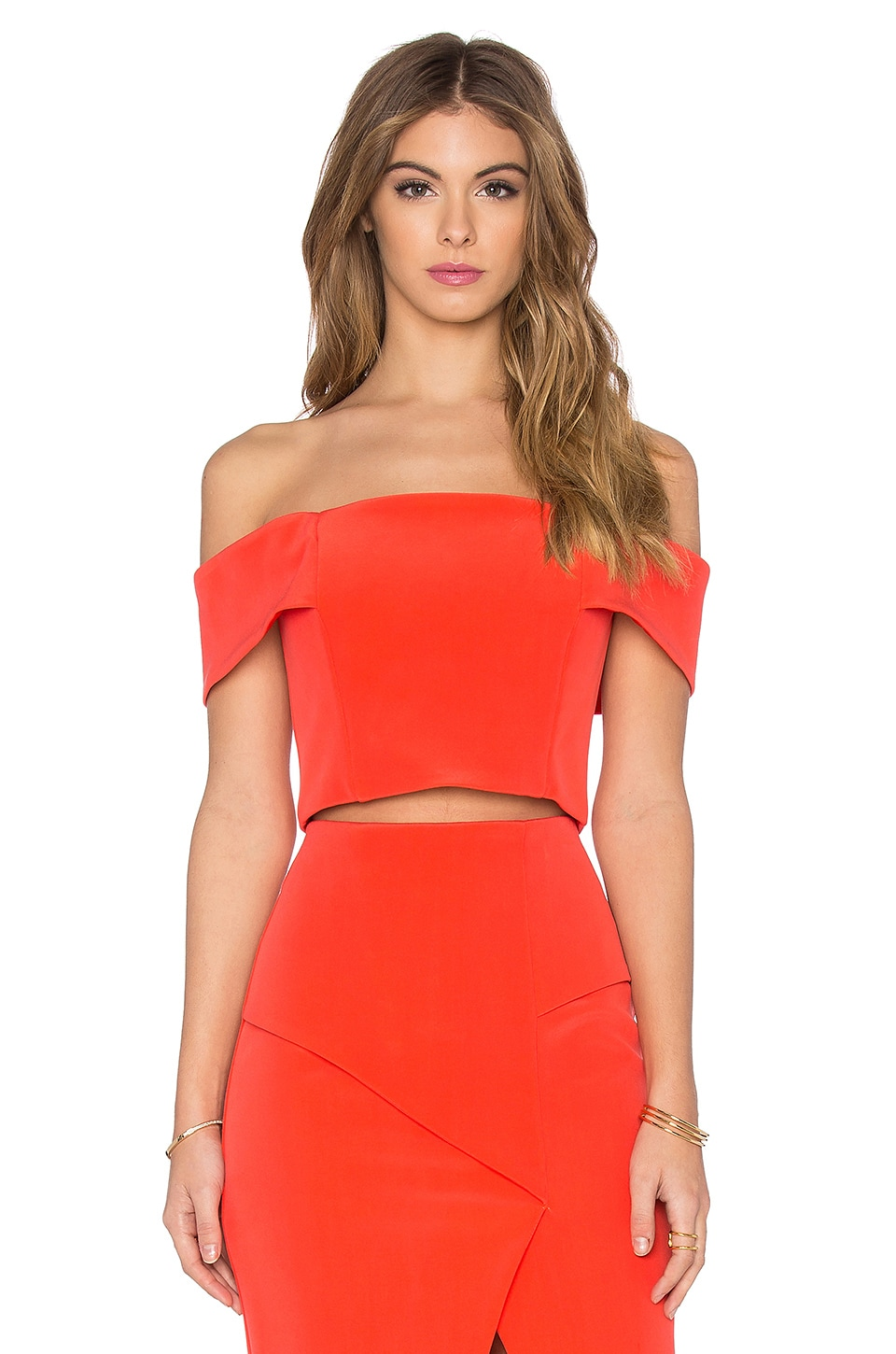 NICHOLAS Technical Bonded Off Shoulder Crop Top in Tangerine