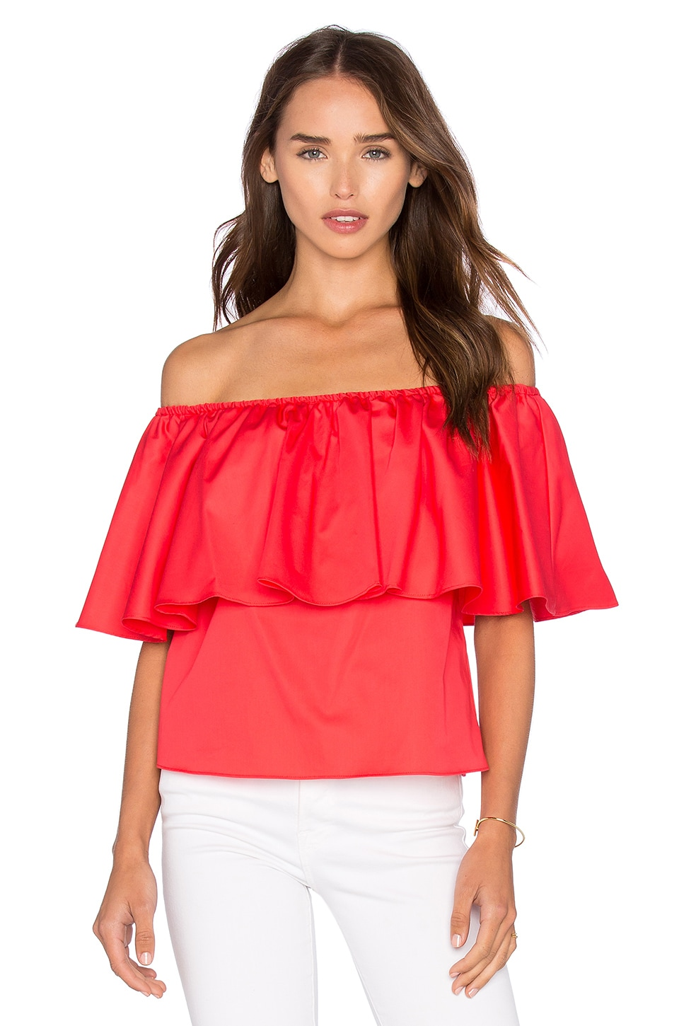 0f87461ff3226 NICHOLAS Off Shoulder Ruffle Top in Poppy Red