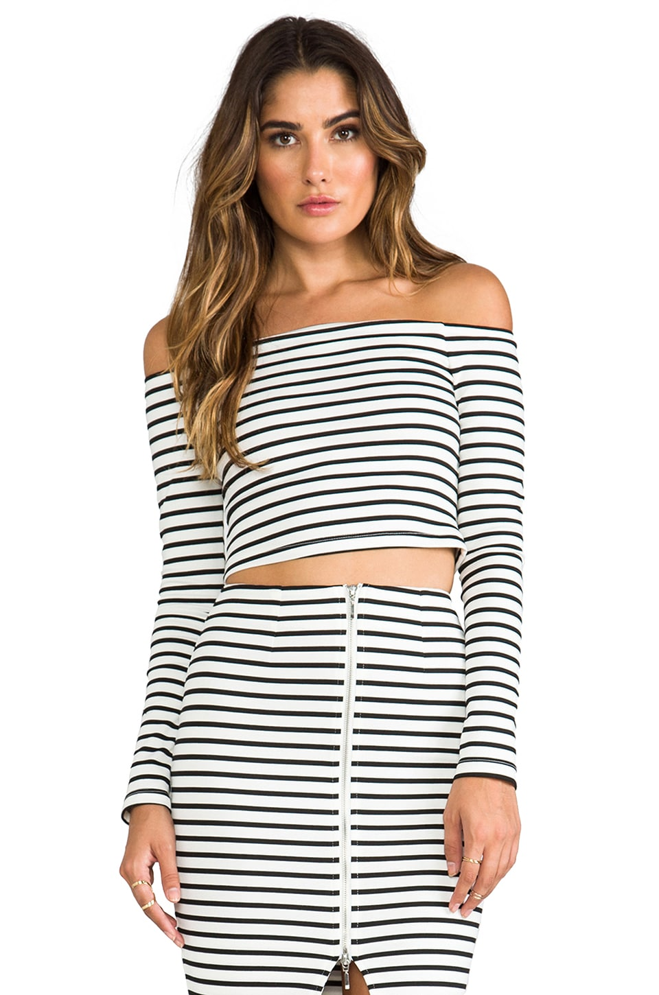 NICHOLAS Breton Stripe Off the Shoulder Top in White/Black