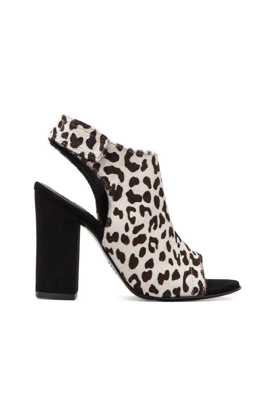 NICHOLAS Kalla Bootie with Calf Fur in Black/White Leopard