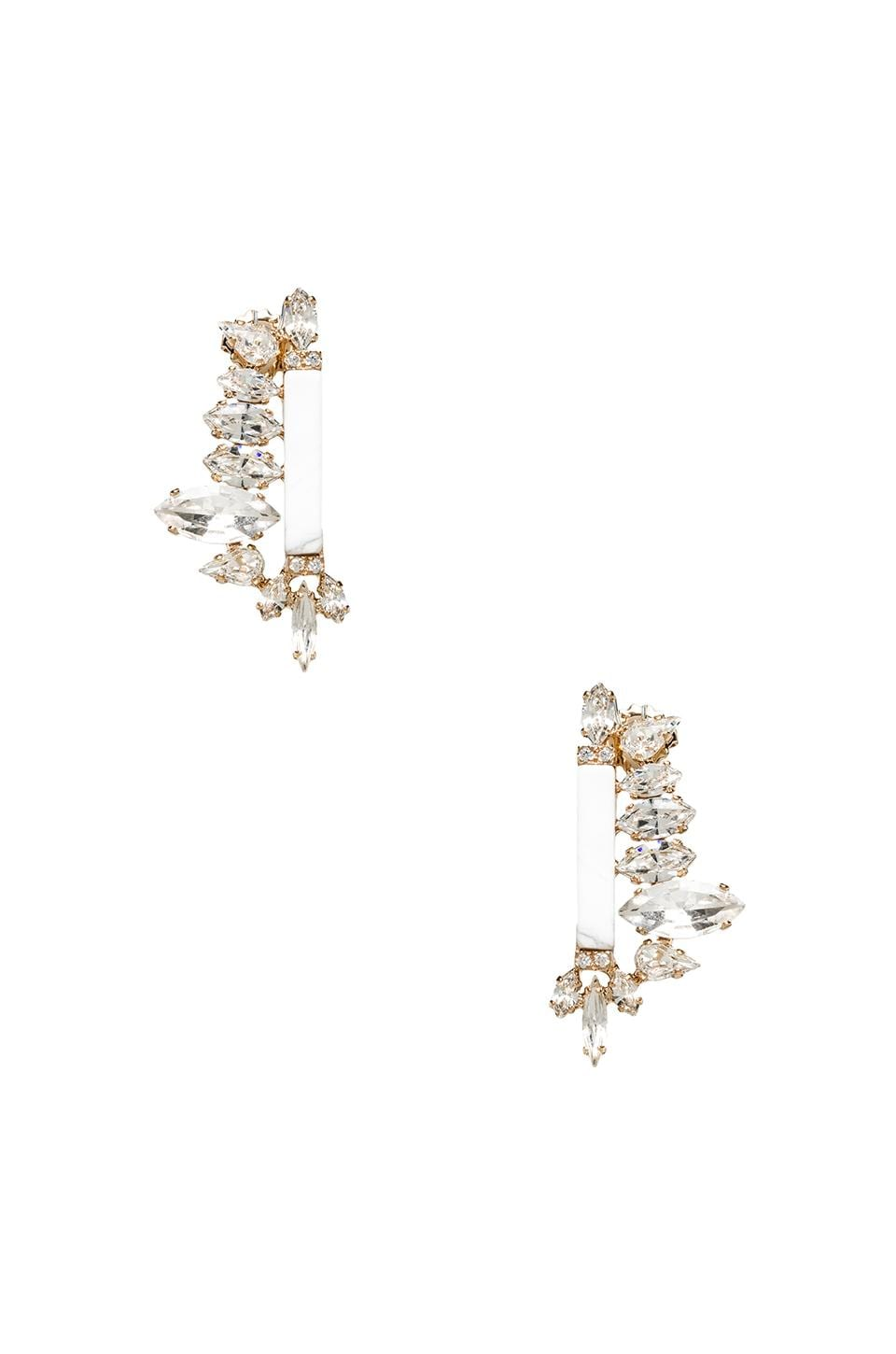 Nicole Meng Flowery Earrings in Gold & Clear