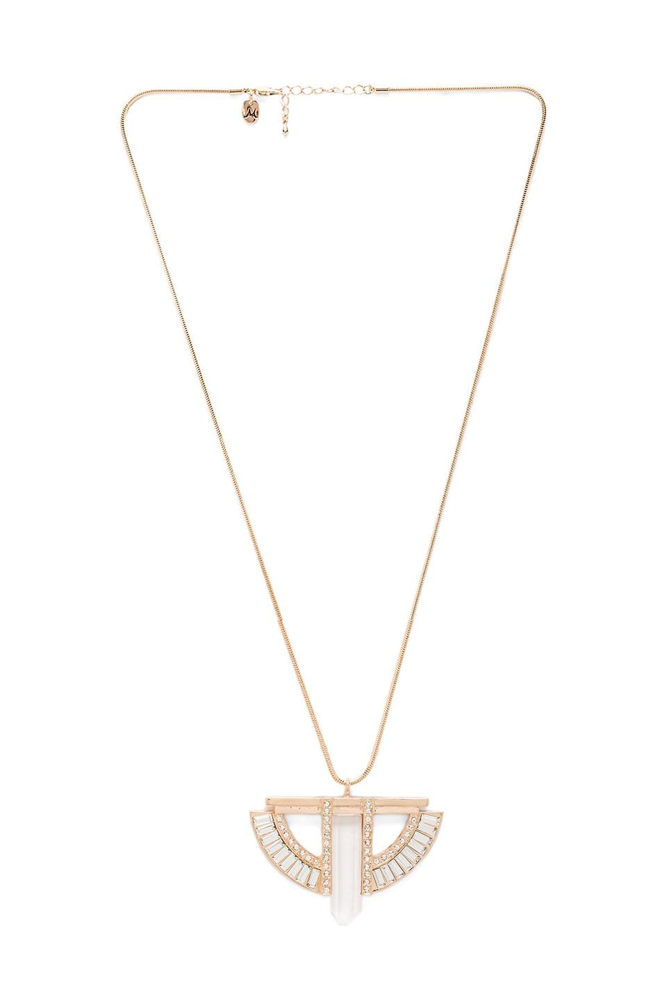 Nicole Meng Architecture Necklace in Gold/Crystal