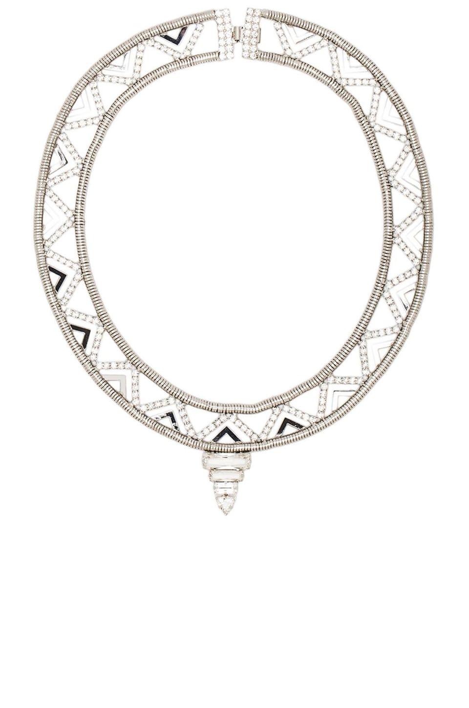 Nicole Meng Deco Tower Collar in Silver/Crystal