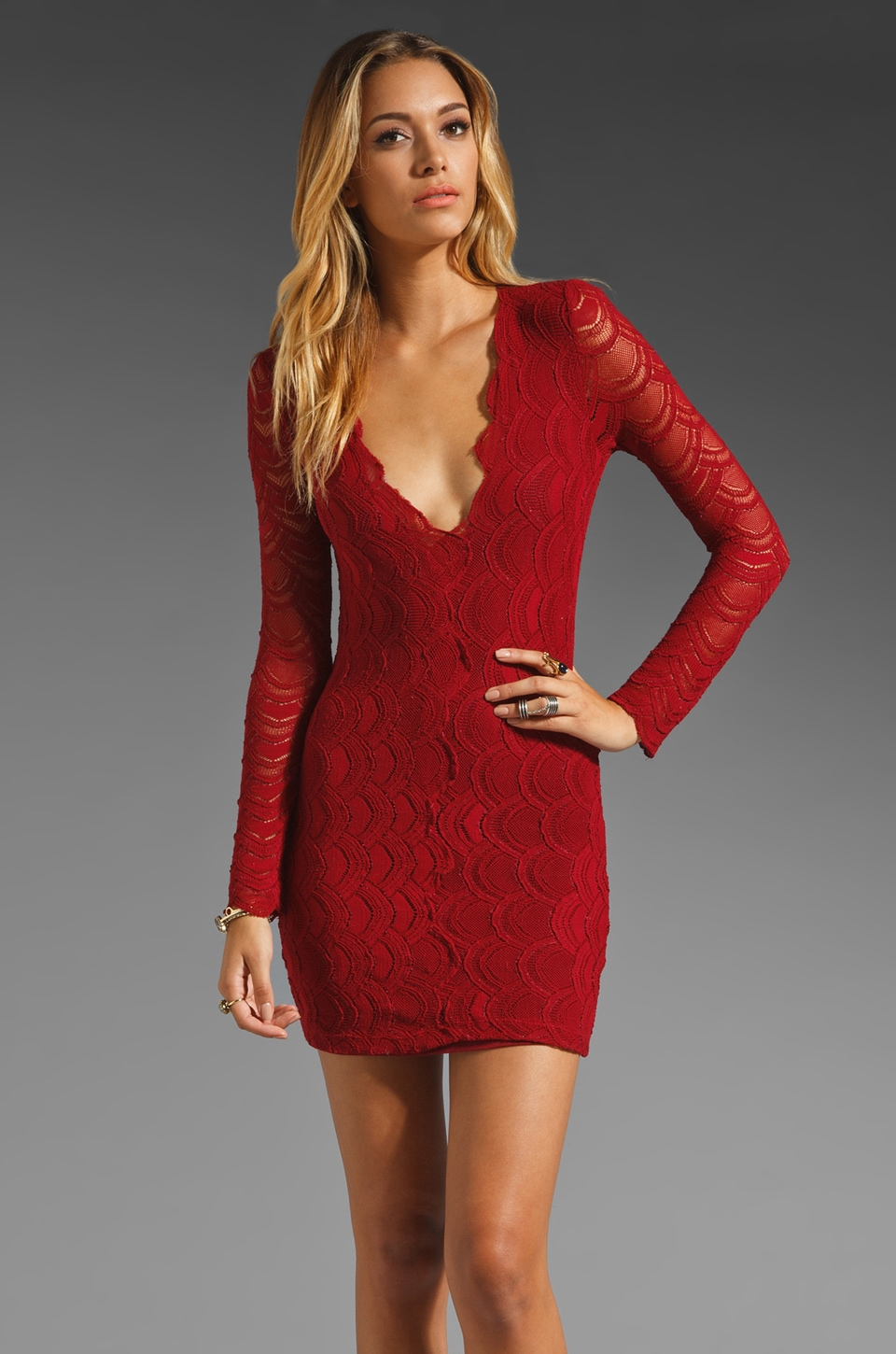 Nightcap Long Sleeve Deep V Victorian Dress in Red Currant