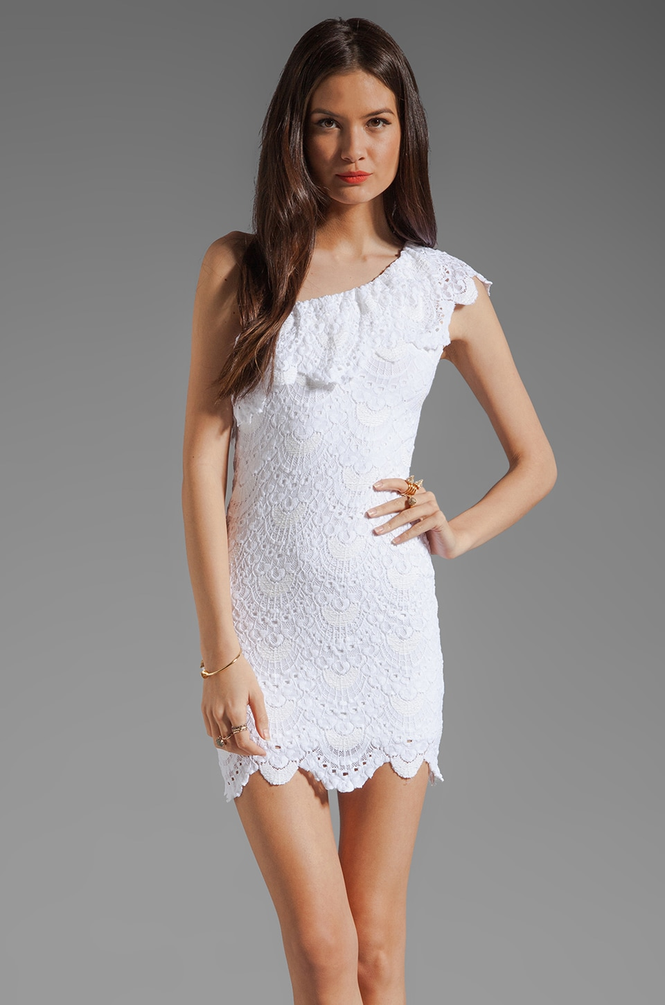 Nightcap One Shoulder Lace Dress in White