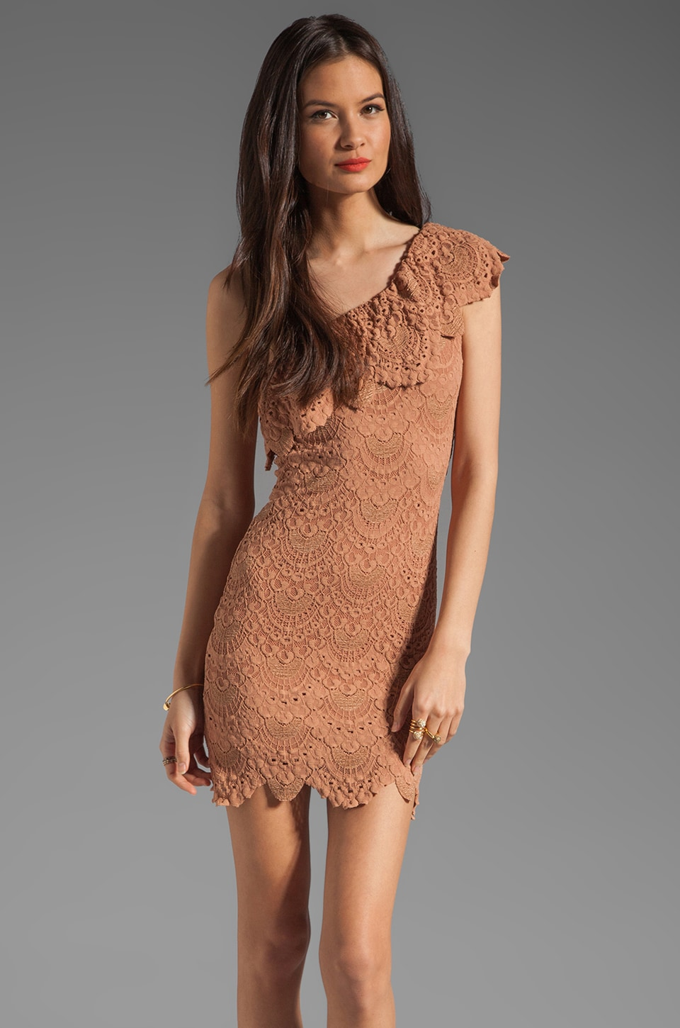 Nightcap One Shoulder Lace Dress in Blush