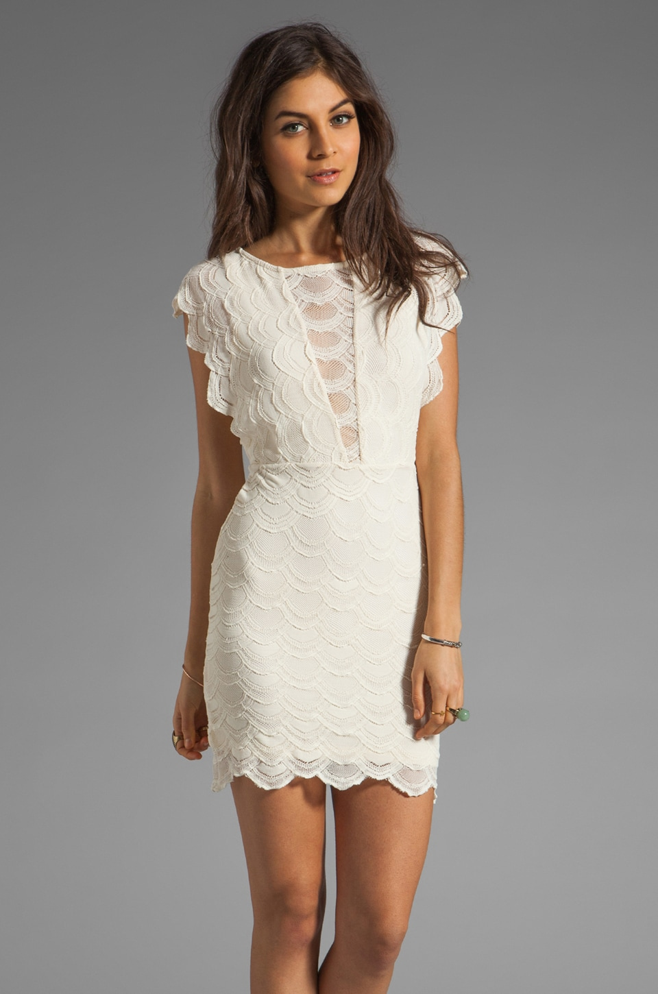 Nightcap Caletto Victorian Lace Mini Dress in Ivory