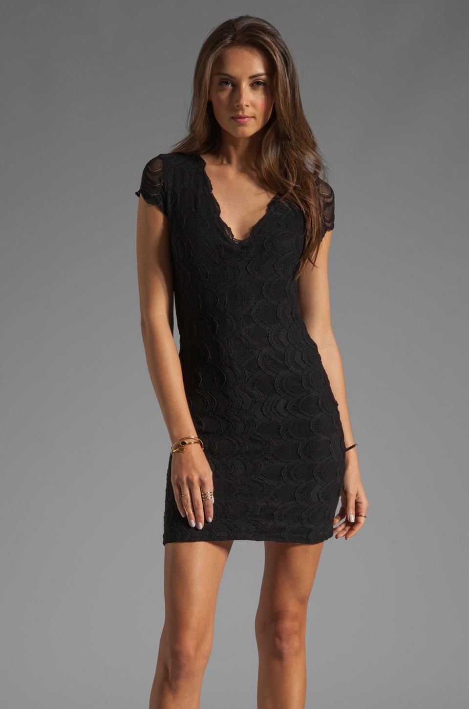 Nightcap Cap Sleeve Victorian Lace Dress in Black