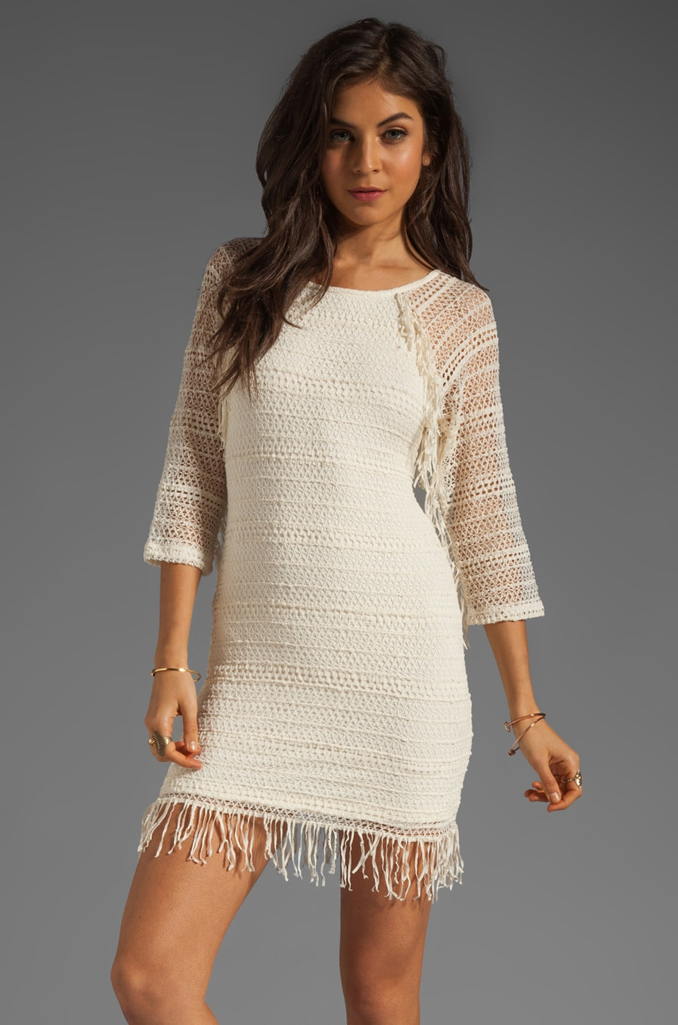 Nightcap Fringe Lace Raglan Dress in Natural