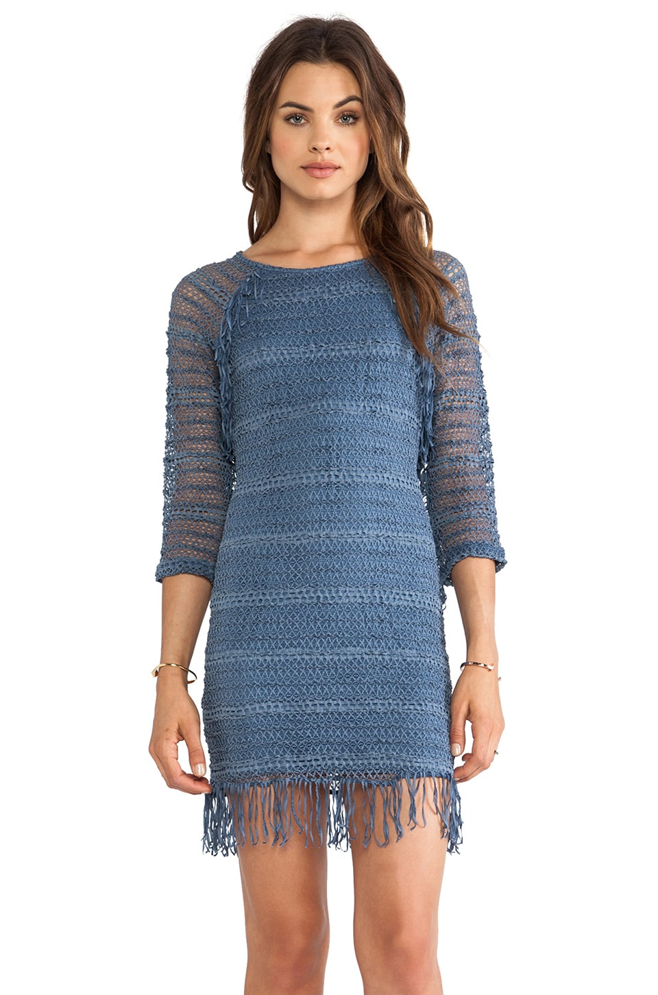Nightcap Fringe Lace Raglan Dress in Denim Bleu