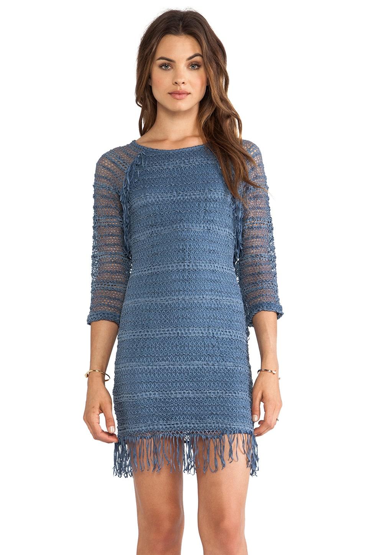Nightcap Fringe Lace Raglan Dress in Denim Bleu