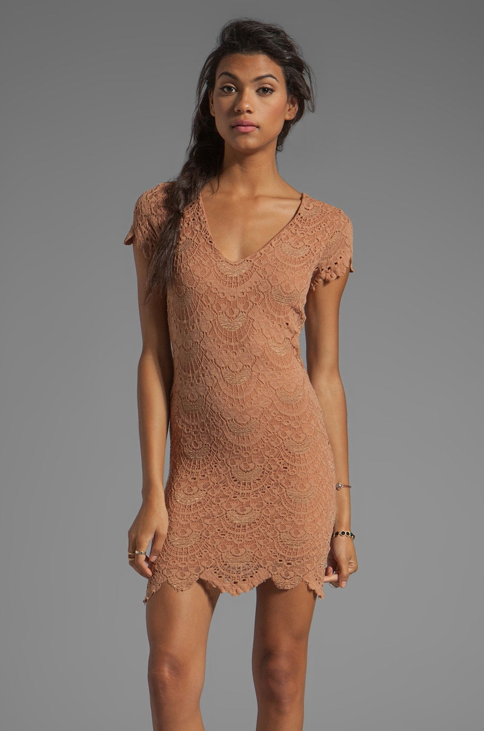 Nightcap Spanish Lace Dress in Blush