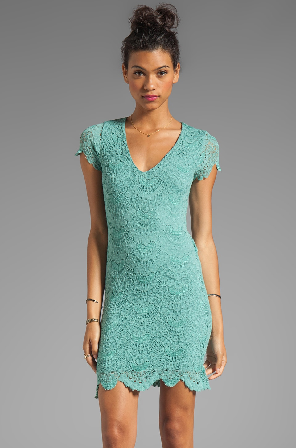 Nightcap Spanish Lace Dress in Seafoam