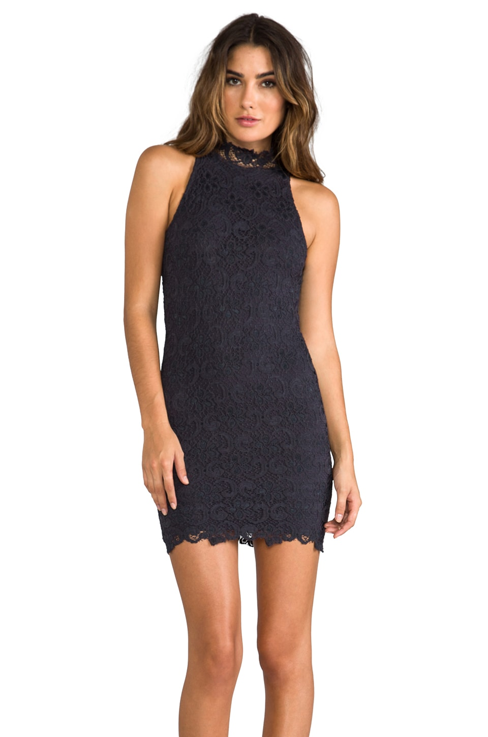 Nightcap Dixie Lace Halter Dress in Charcoal