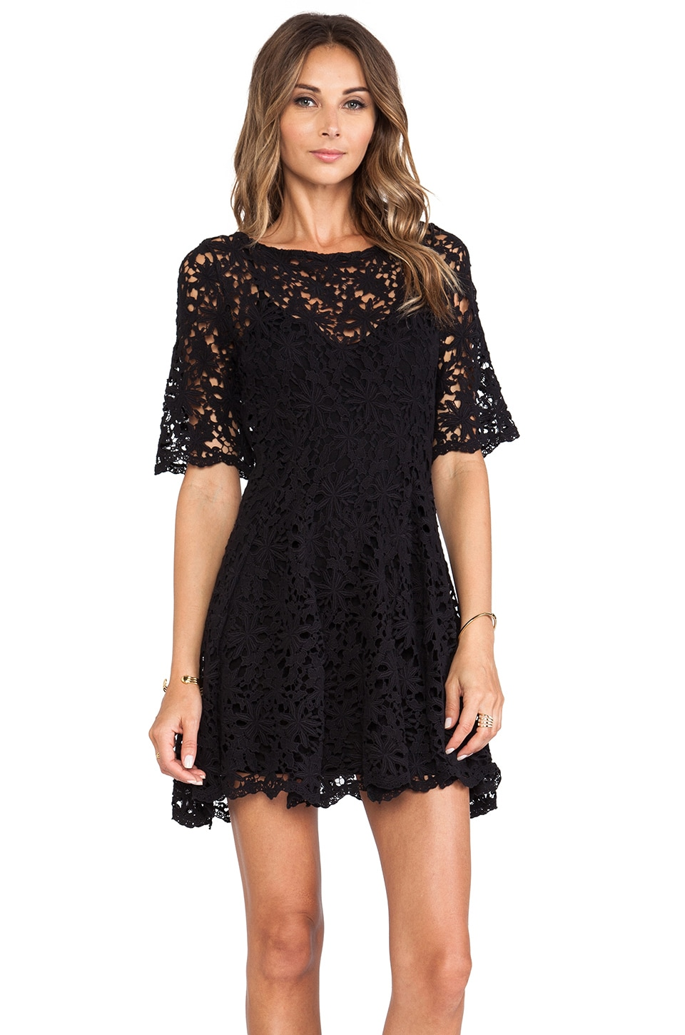 Nightcap Daisy Crochet Fit and Flare Dress in Black