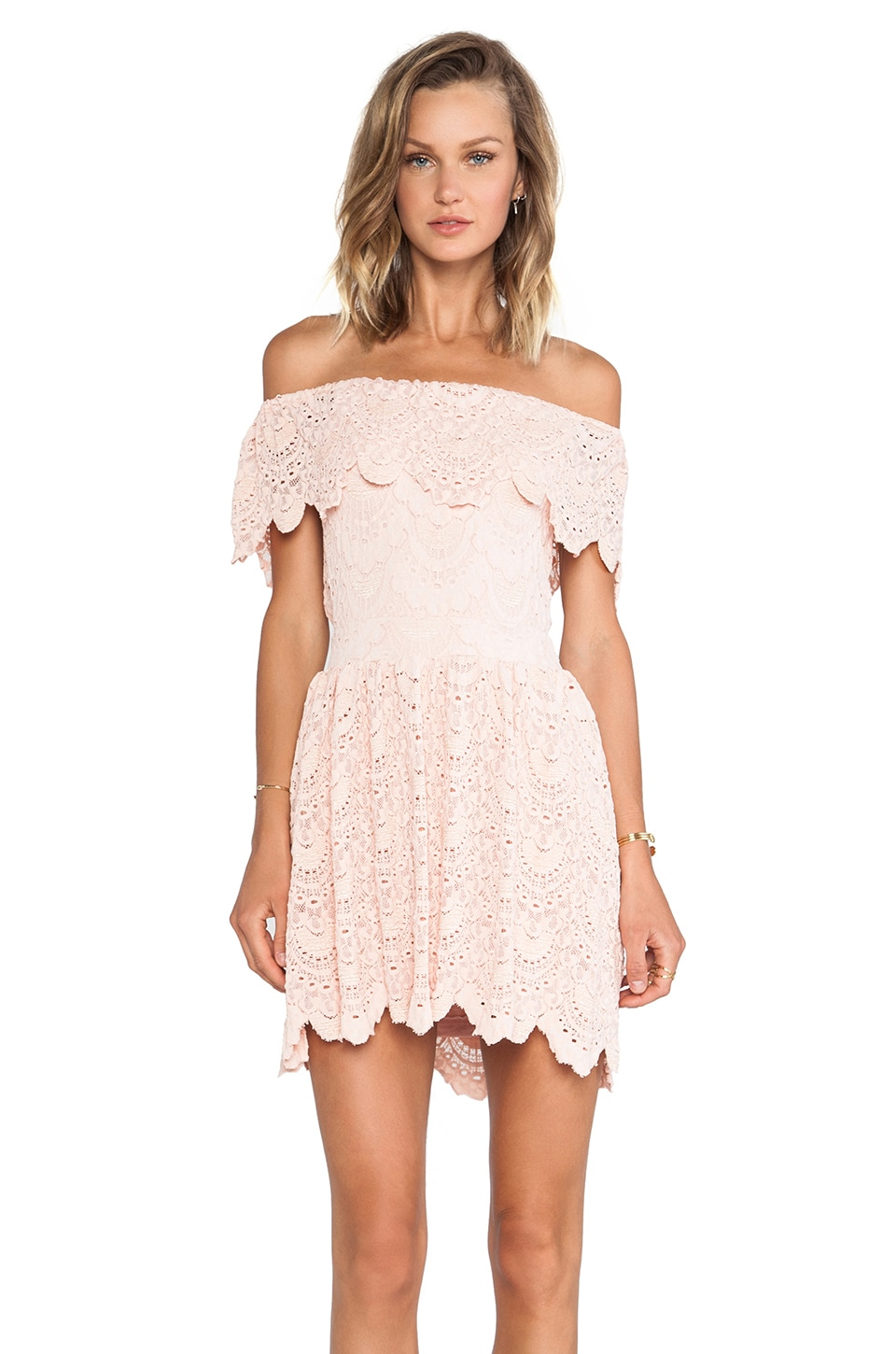 Nightcap Riviera Fit 'n Flare Dress in Soft Peach
