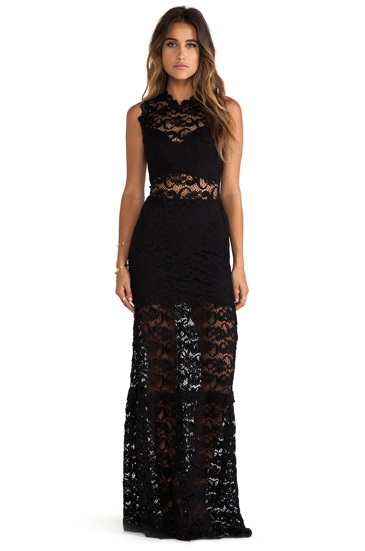 Nightcap Dixie Lace Cutout Maxi Dress in Black