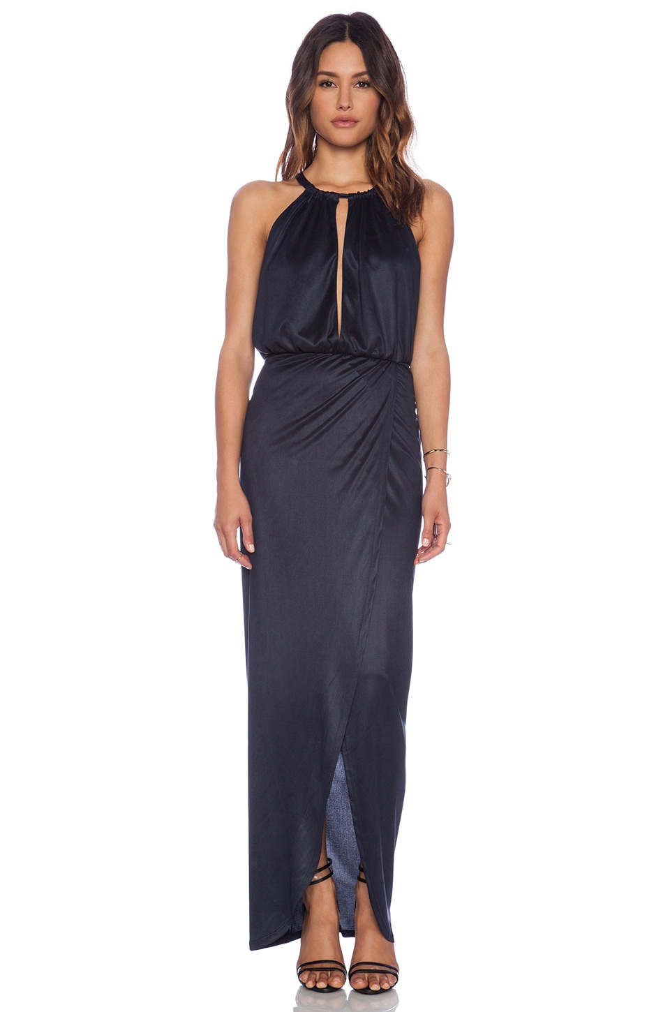Nightcap Sueded Halter Gown in Midnight