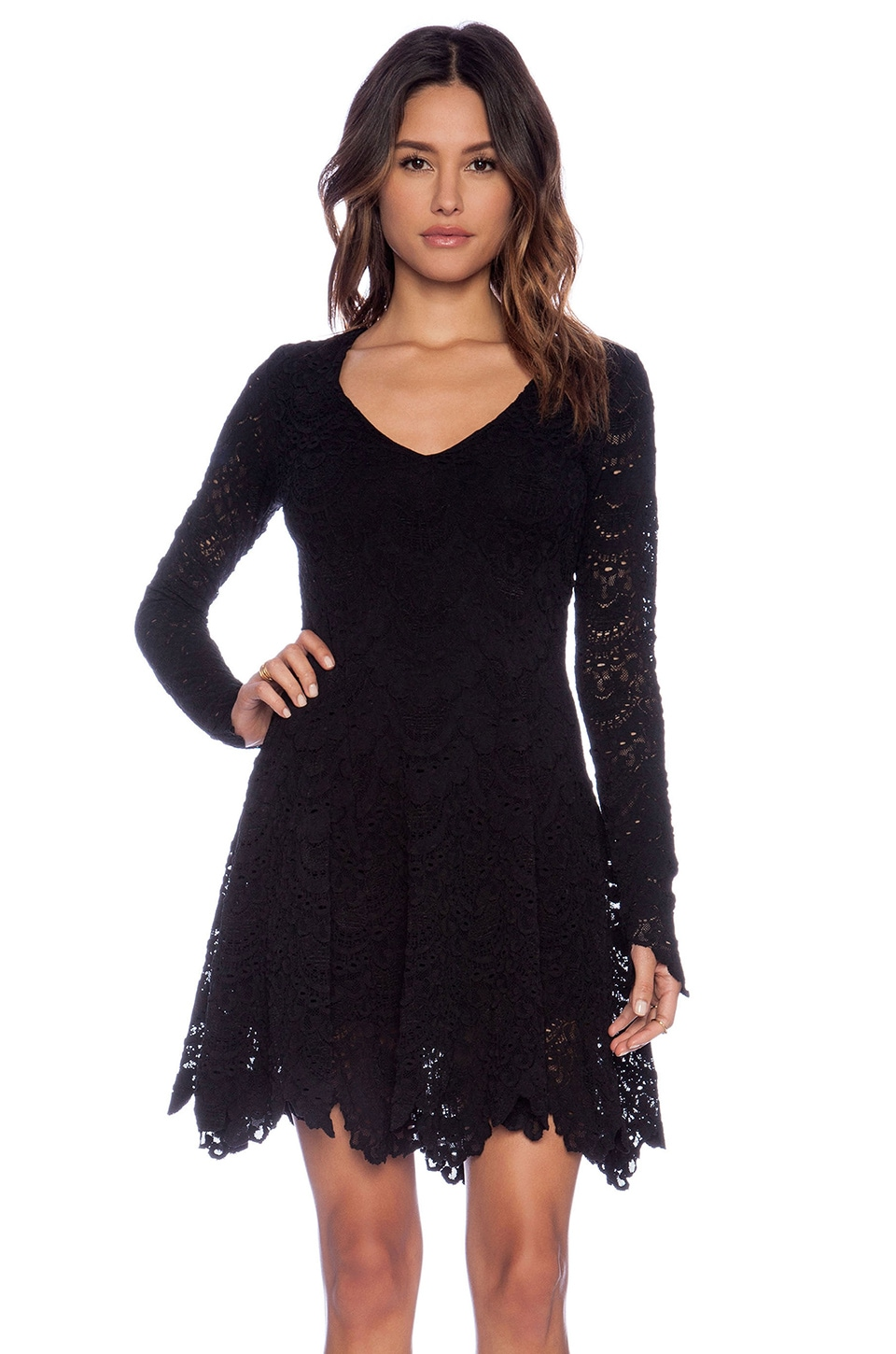 Nightcap Spanish Lace Fit and Flare Dress in Black