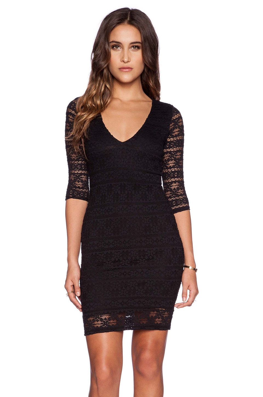 Nightcap Cherokee Stripe Lace Deep V Dress in Black