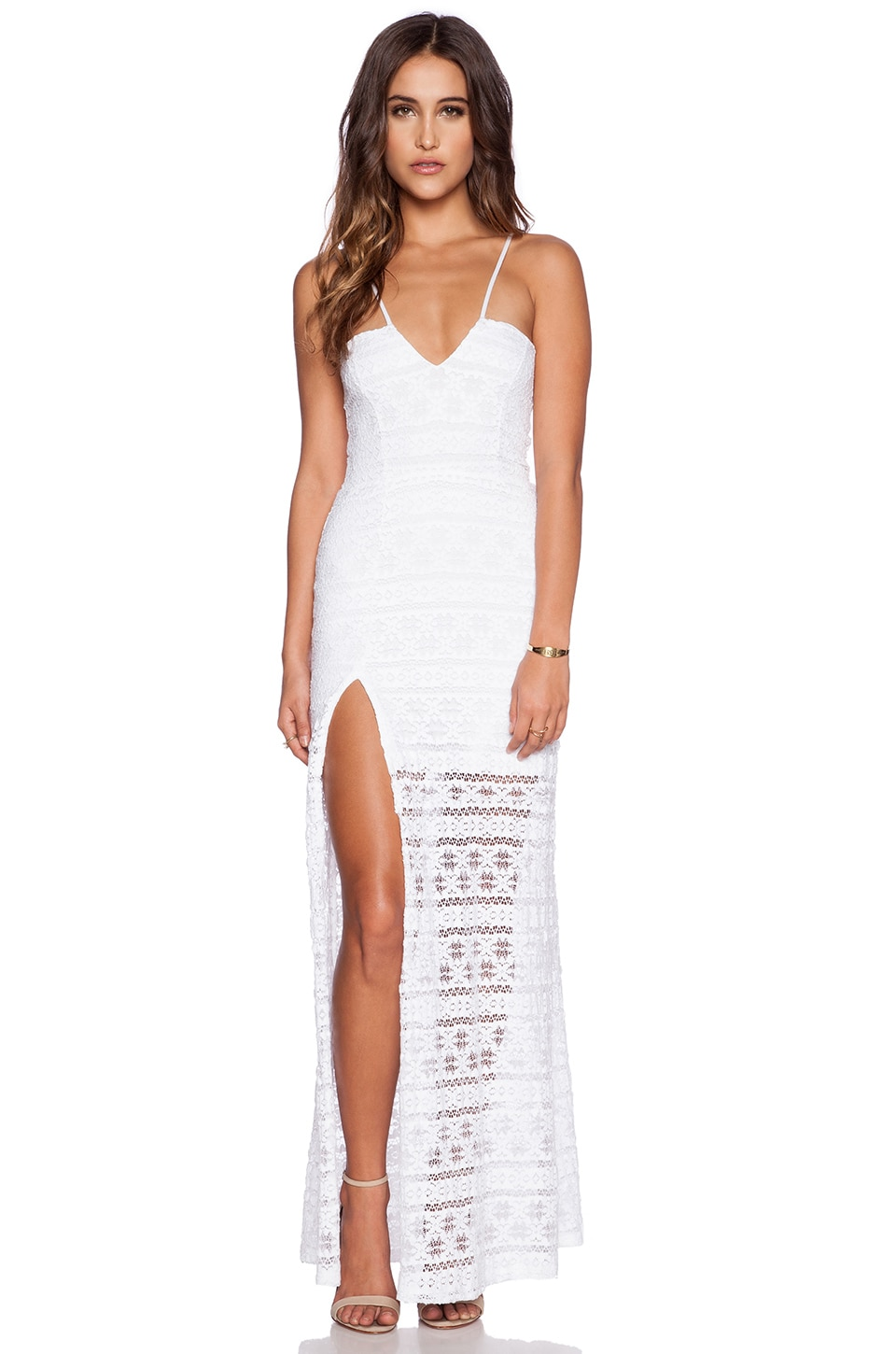 Nightcap Cherokee Stripe High Slit Maxi Dress in White