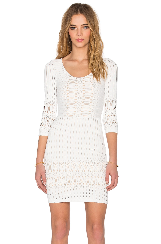 Nightcap Spiral Lace Scoop Dress in Ecru