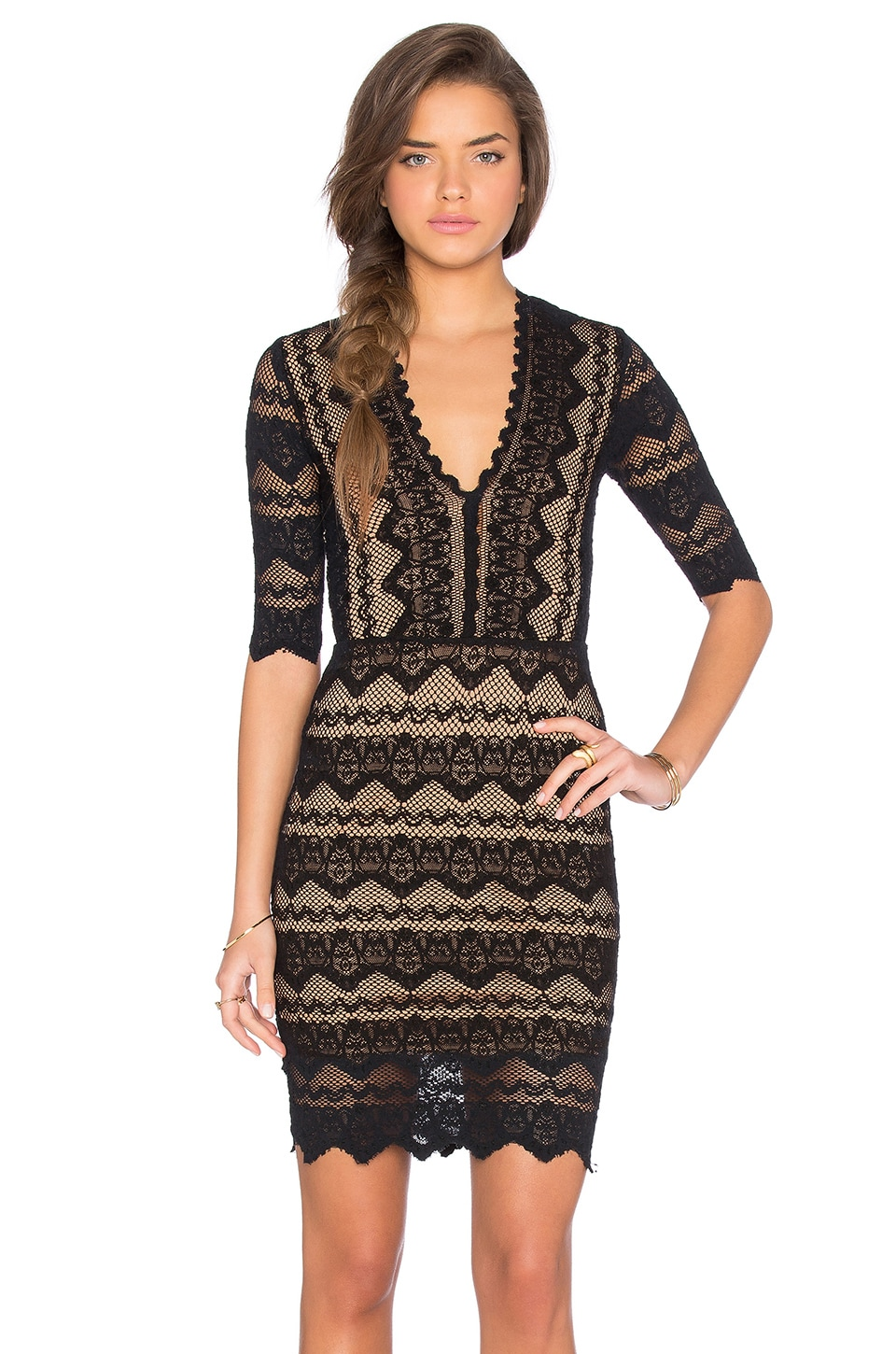 Nightcap Sierra Lace 3/4 Sleeve Deep V Dress in Black