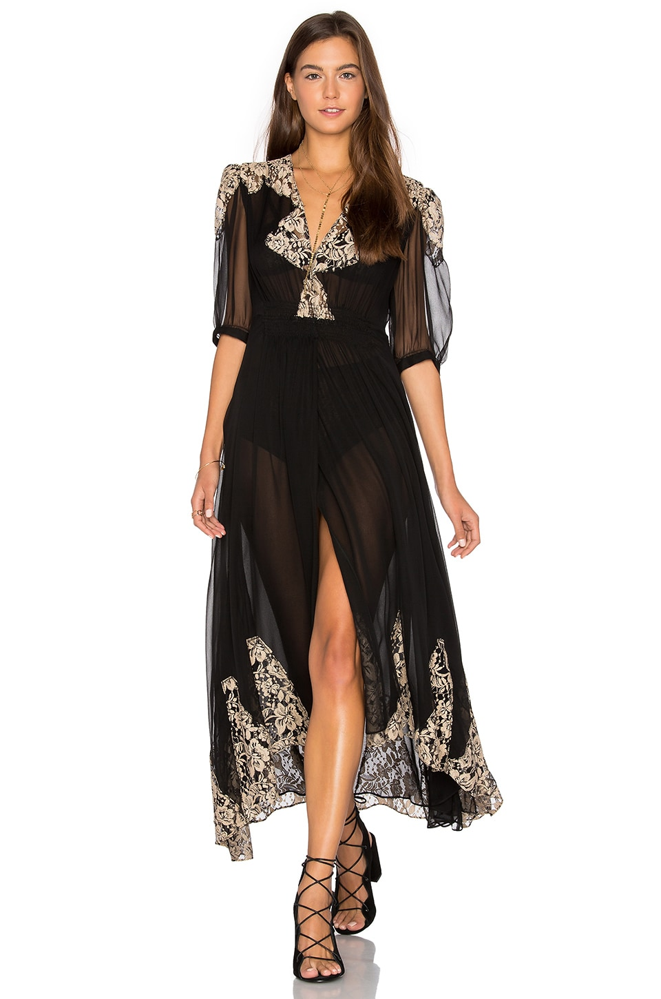 Nightcap by Carisa Rene Antique Lace Wrap Gown in Black