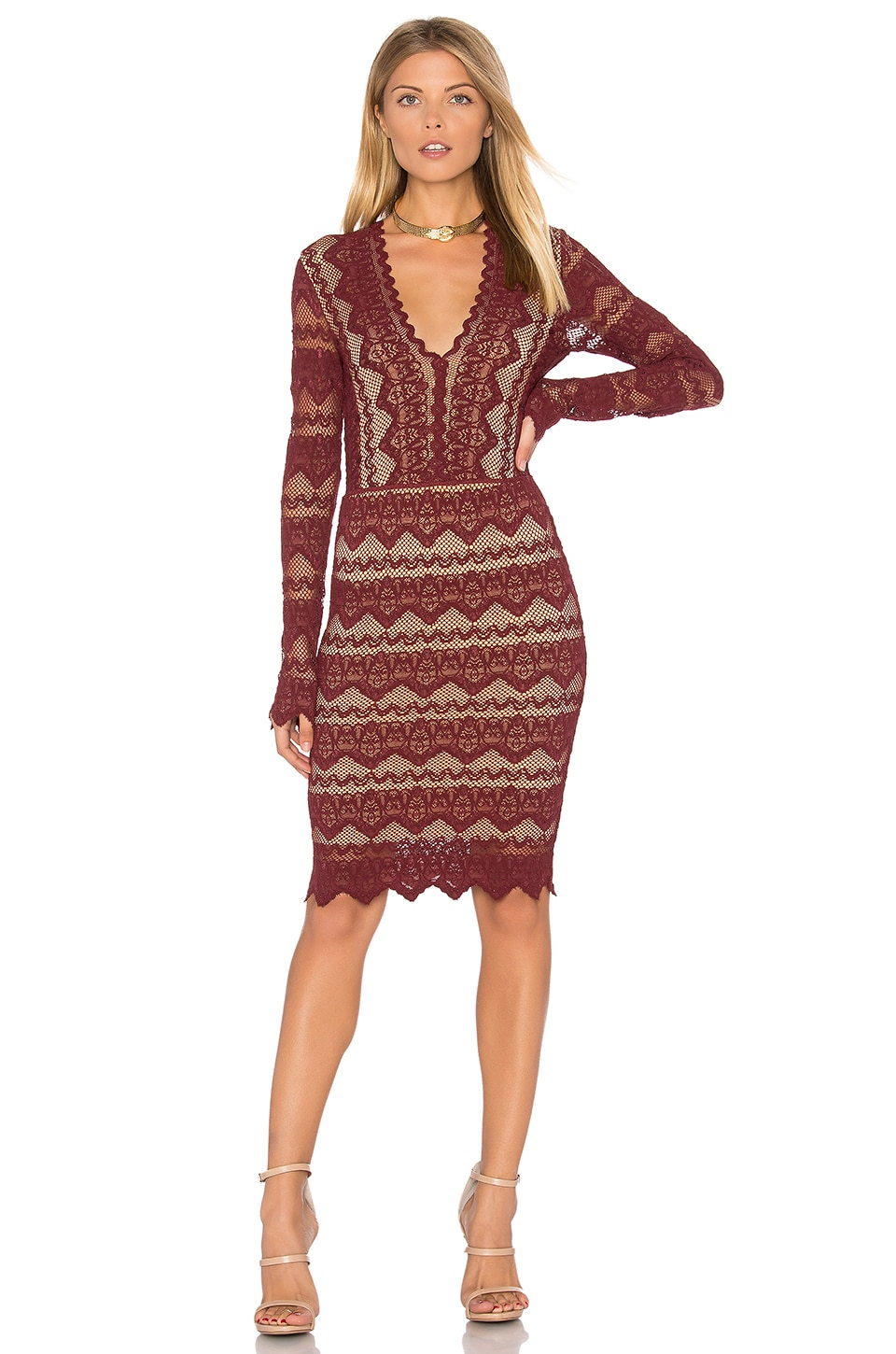 Sierra Lace Deep V Dress by Nightcap