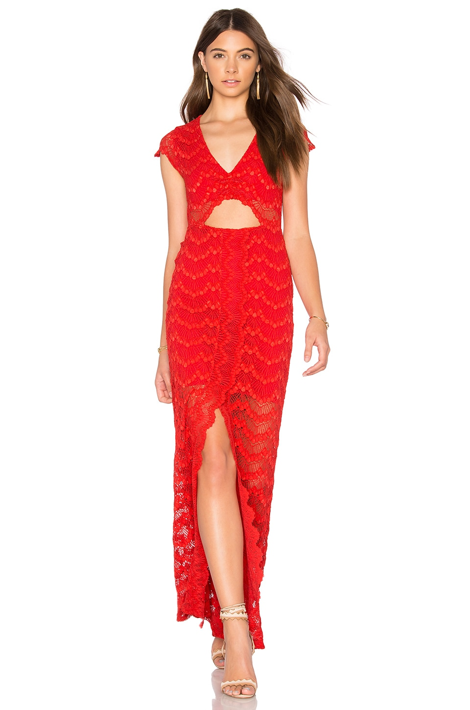 Nightcap Mariposa Cutout Maxi Dress in Guava | REVOLVE