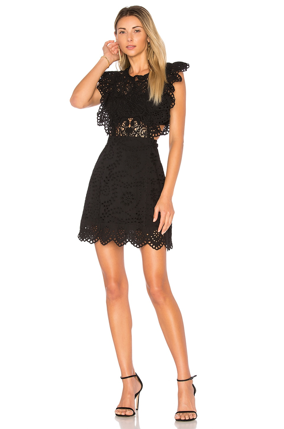 Black dress mini - Nightcap Eyelet Apron Mini Dress In Black