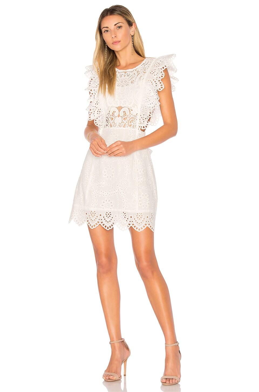 Nightcap Eyelet Apron Mini Dress in White