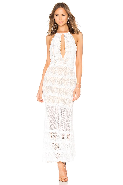 NIGHTCAP Belle Nuit Halter Gown in White
