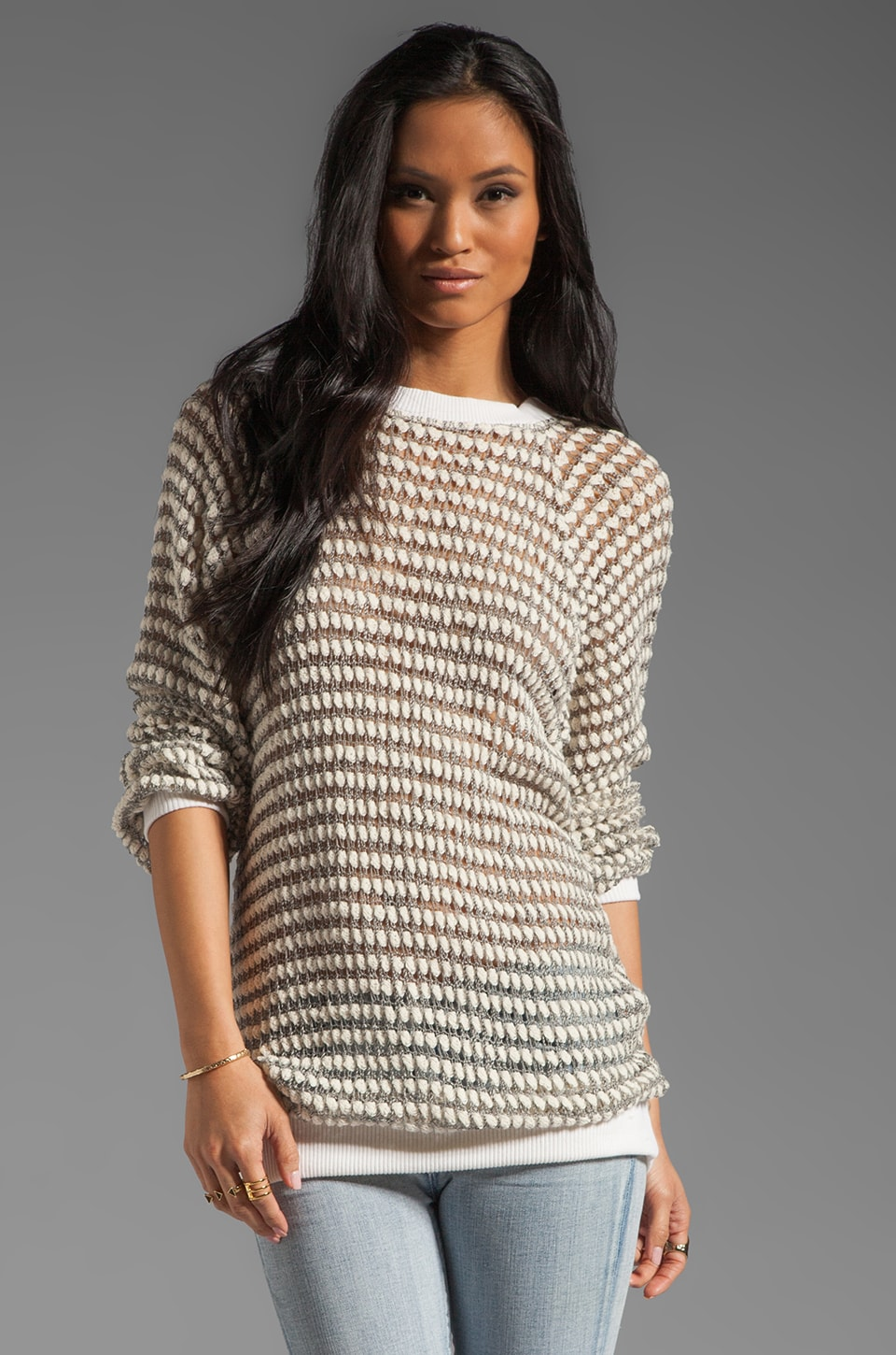Nightcap Arrowpoint Sweater in Cream/Grey