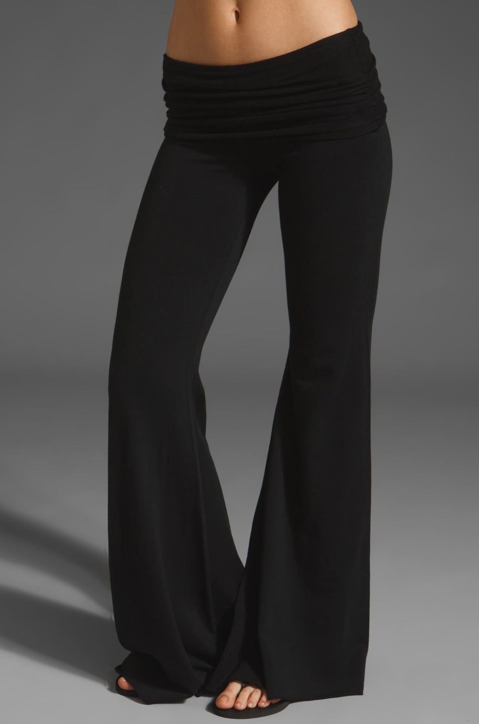 Nightcap Fleece Foldover Flare Pant in Black