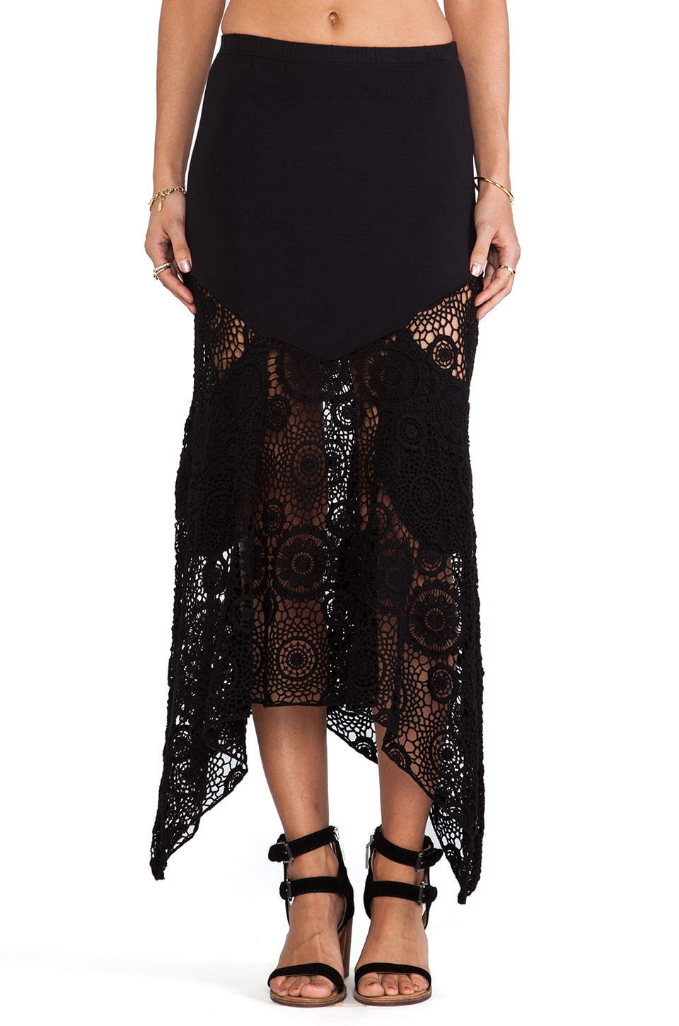 Nightcap Maude Crochet Skirt in Black