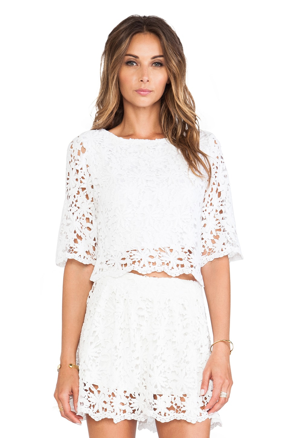 Nightcap Daisy Crochet Crop Top in White